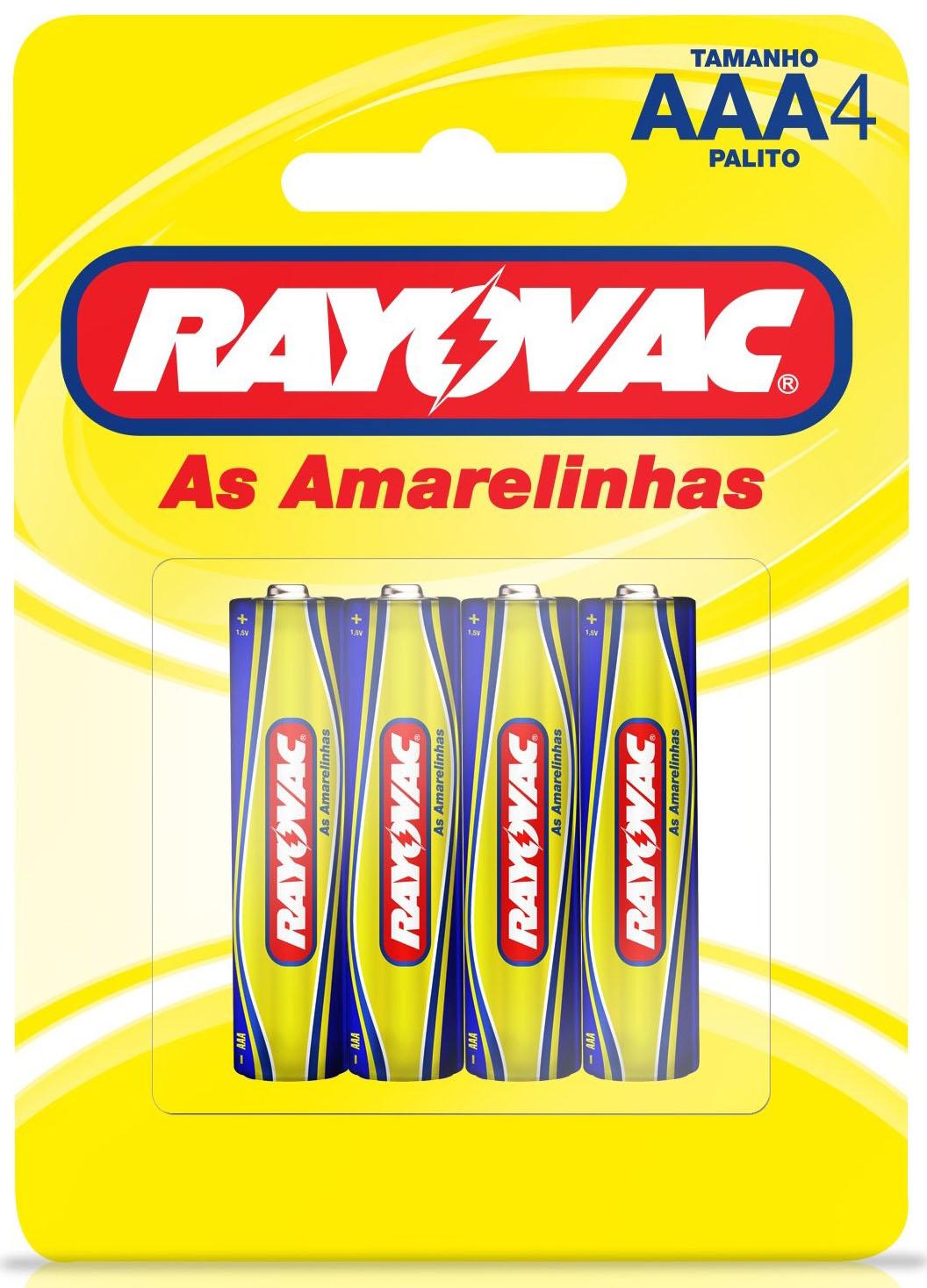 PILHA RAY AMARELINAS PLT AAA4 1X4(24)