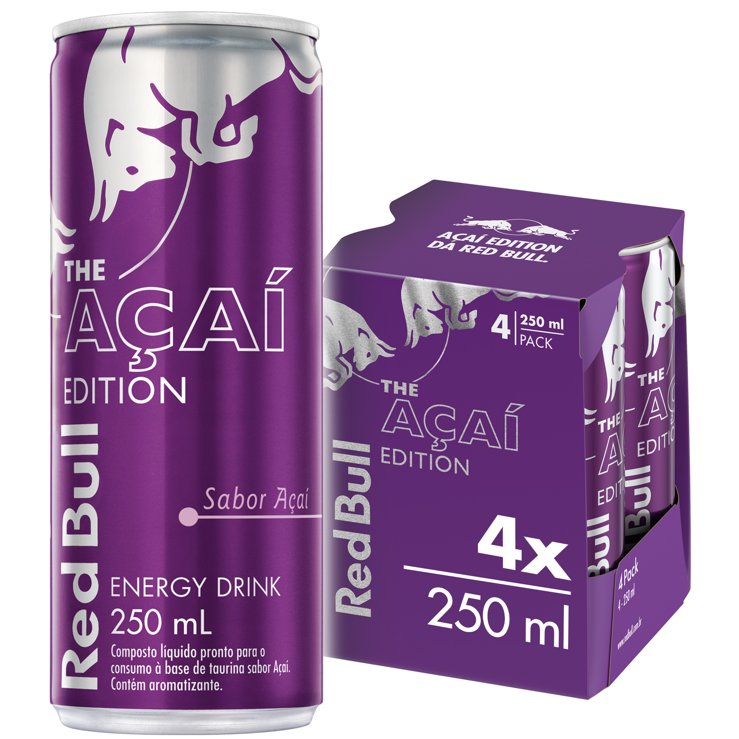 ENERGÉTICO RED BULL ENERGY DRINK AÇAÍ 250 ML (4LT)