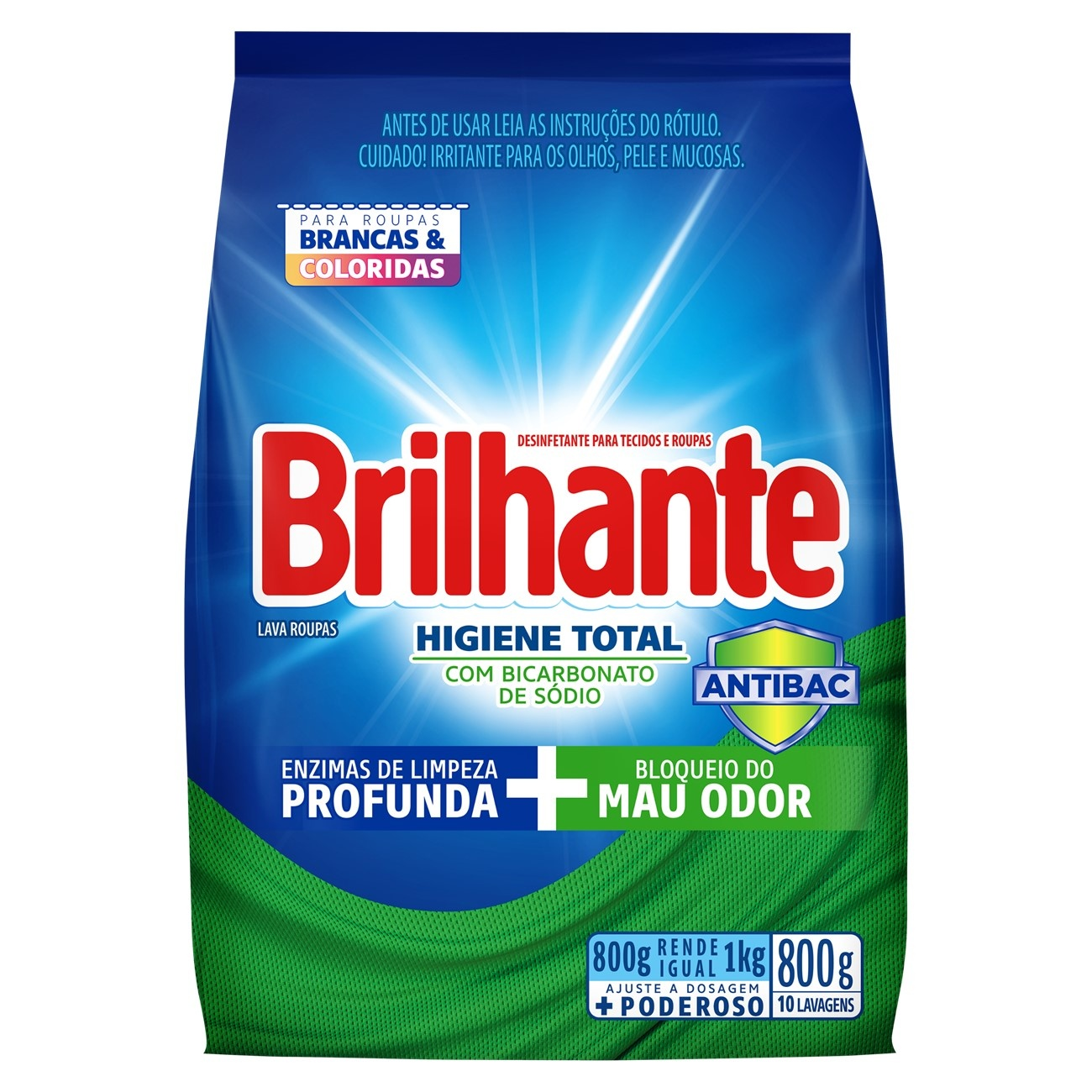 BRILHANTE PO HIG TOT ANTIBAC BAG 800G(16